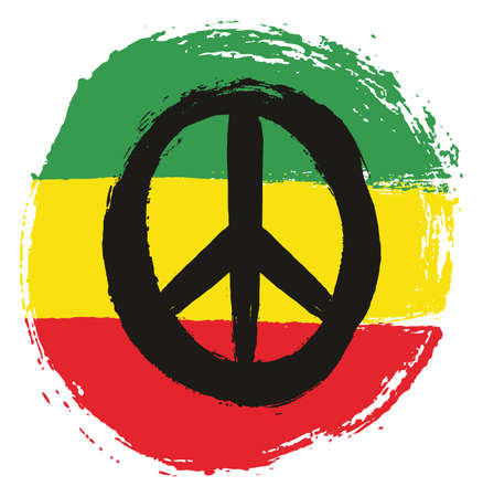 Rasta Man Peace Circle Flag Vector Hand Painted with Rounded Brush