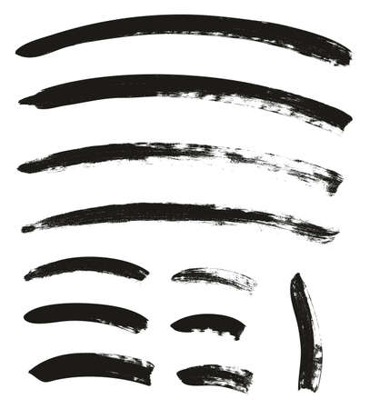 Calligraphy Paint Brush Curved Lines High Detail Abstract Vector Background Set 108