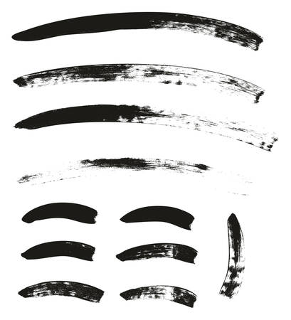 Calligraphy Paint Brush Curved Lines High Detail Abstract Vector Illustration