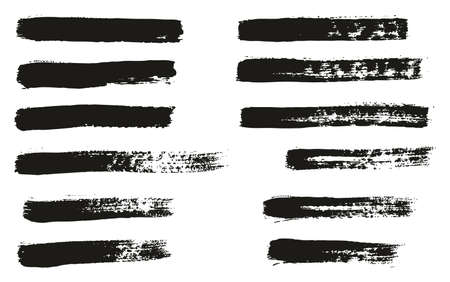 Paint Brush Thin Lines High Detail Abstract Vector Background Set 41