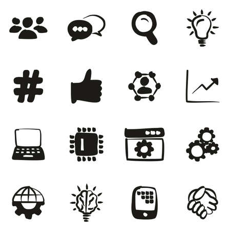 Research and Development Process Icons Freehand Fill