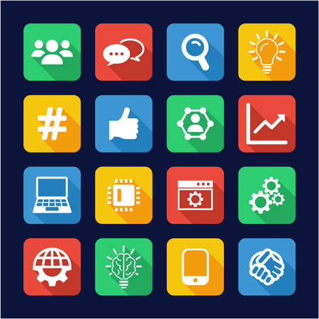 Research and Development Process Icons Flat Design
