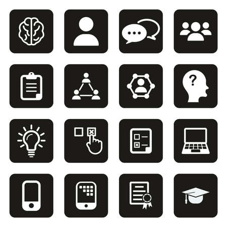 Quiz or Pop Quiz Icons White On Black