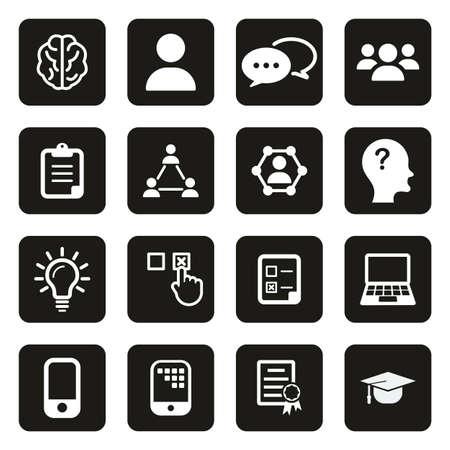 Quiz or Pop Quiz Icons White On Black