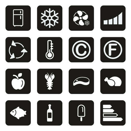 Refrigerator or Cooler Icons White On Black