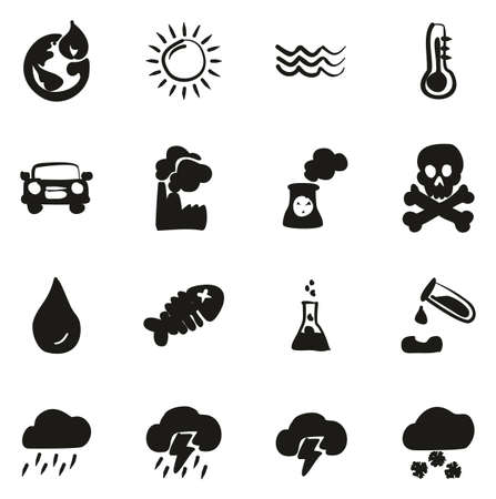 Global Warming Icons Freehand Fill Illustration
