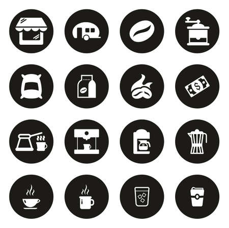 Coffee Shop Icons White On Black Circle
