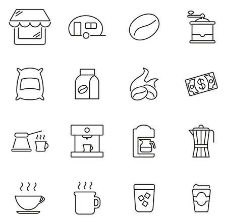 Coffee Shop Icons Thin Line Vector Illustration Set