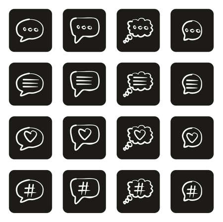 Chat Bubble Icons Freehand White On Black