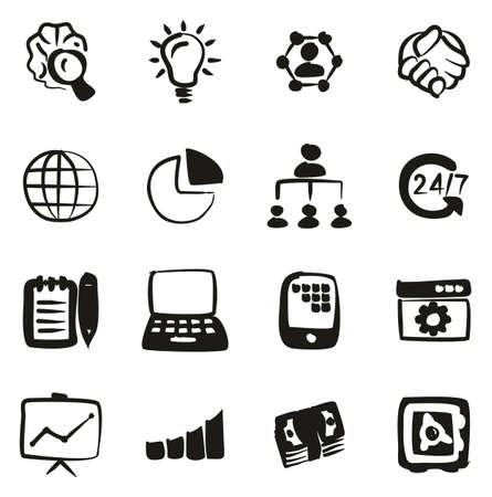 Business Enterprise Icons Freehand Fill 矢量图像