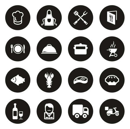 Catering Business Icons White On Black Circle