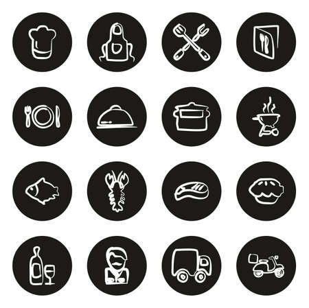 Catering Business Icons Freehand White On Black Circle Stock Illustratie