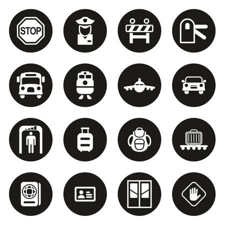 Border Crossing Icons White On Black Circle