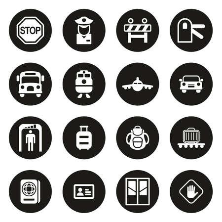 Border Crossing Icons White On Black Circle