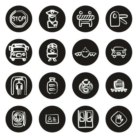 Border Crossing Icons Freehand White On Black Circle