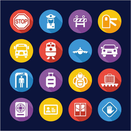 Border Crossing Icons Flat Design Circle