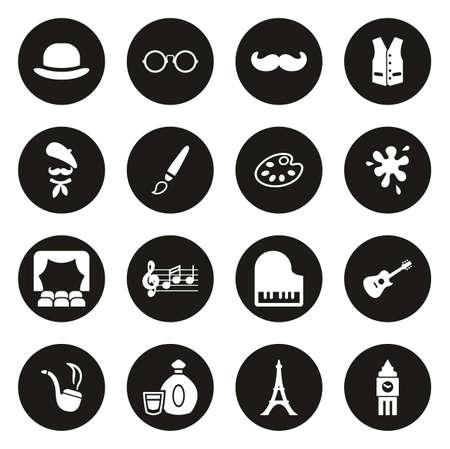 Bohemian Lifestyle Icons White On Black Circle