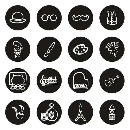 Bohemian Lifestyle Icons Freehand White On Black Circle Ilustração
