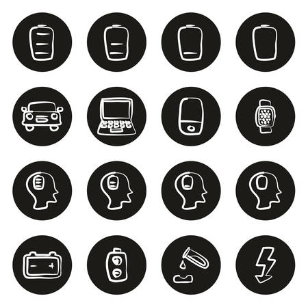 Battery or Power Icons Freehand White On Black Circle