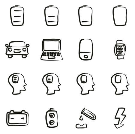 Battery or Power Icons Freehand