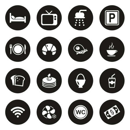 Bed and Breakfast Icons White On Black Circle Çizim