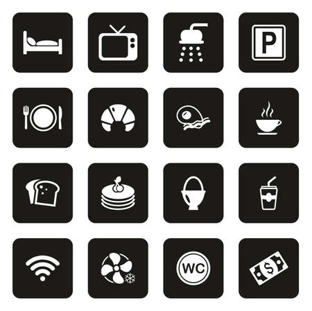 Bed and Breakfast Icons White On Black Stok Fotoğraf - 116949505