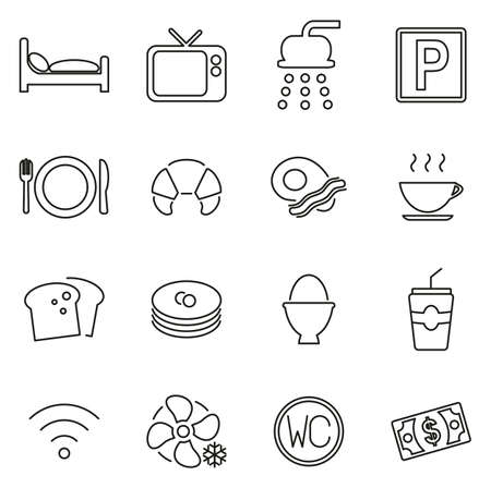 Bed and Breakfast Icons Thin Line Vector Illustration Set Çizim