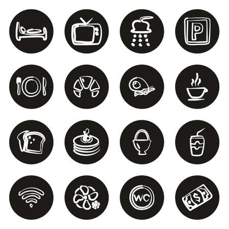 Bed and Breakfast Icons Freehand White On Black Circle Çizim
