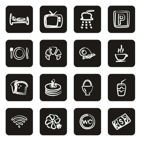 Bed and Breakfast Icons Freehand White On Black Çizim