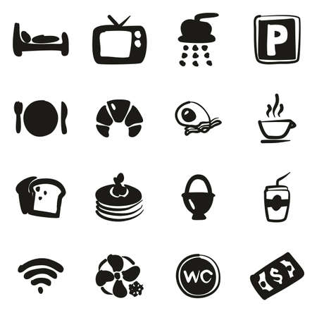 Bed and Breakfast Icons Freehand Fill Çizim
