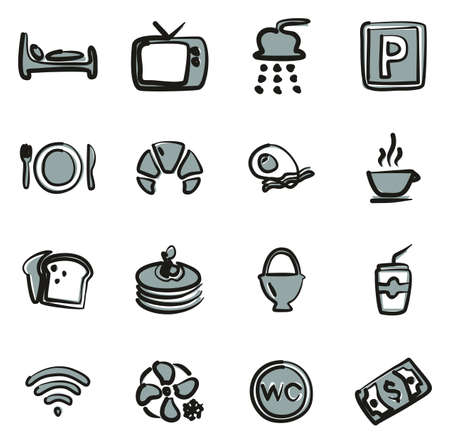 Bed and Breakfast Icons Freehand 2 Color Stok Fotoğraf - 116949510
