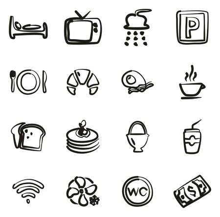 Bed & Breakfast Icons Freehand Stok Fotoğraf - 116949340