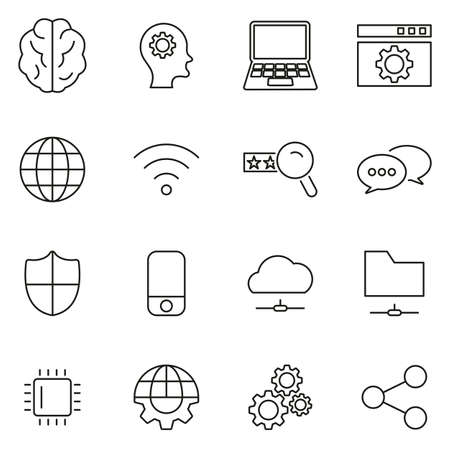 Artificial Intelligence Icons Thin Line Vector Illustration Set 免版税图像 - 116949341