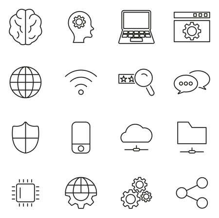 Artificial Intelligence Icons Thin Line Vector Illustration Set Illustration