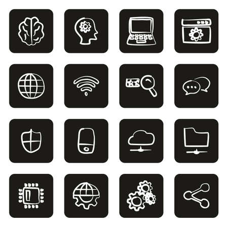 Artificial Intelligence Icons Freehand White On Black