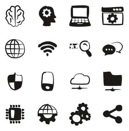 Artificial Intelligence Icons Freehand Fill