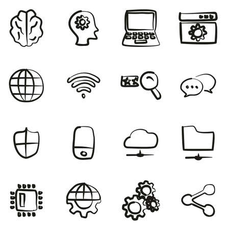 Artificial Intelligence Icons Freehand Illustration