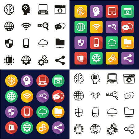 Artificial Intelligence Icons All in One Icons Black & White Color Flat Design Freehand Set