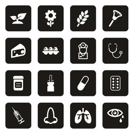 Allergy or Hypersensitivity Icons White On Black Illustration