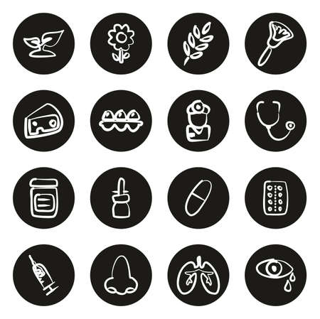 Allergy or Hypersensitivity Icons Freehand White On Black Circle Illustration