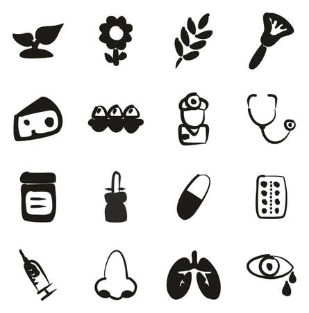 Allergy or Hypersensitivity Icons Freehand Fill