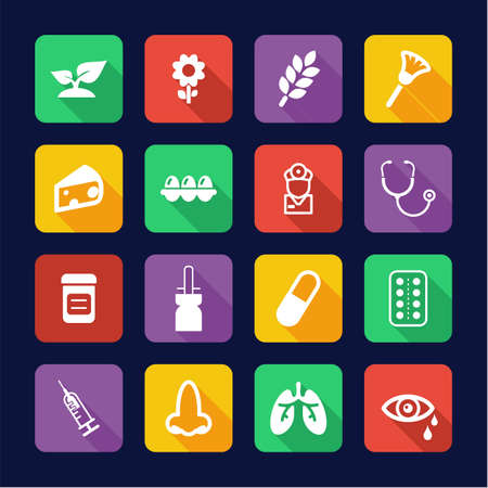 Allergy or Hypersensitivity Icons Flat Design