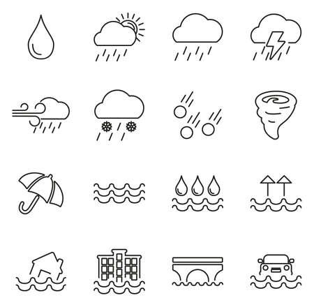 Rain or Rain Flood Icons Thin Line Vector Illustration Set