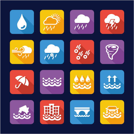 Rain or Rain Flood Icons Flat Design
