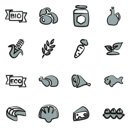 Organic Food Icons Freehand 2 Color