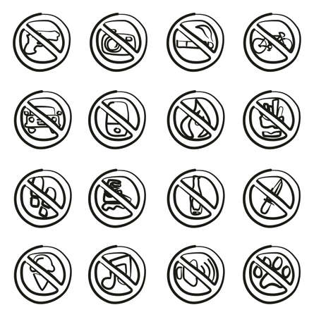 No Signs or Forbidden Signs Icons Freehand