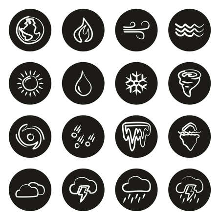 Nature Elements Icons Freehand White On Black Circle Çizim
