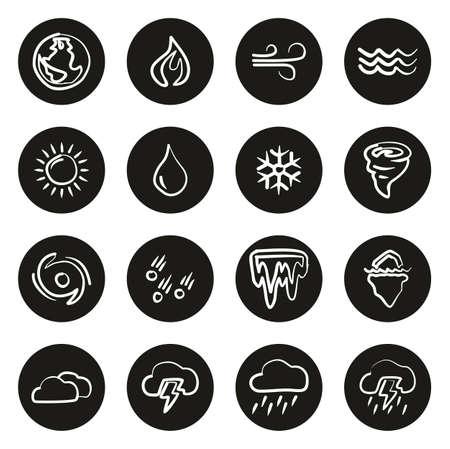 Nature Elements Icons Freehand White On Black Circle Illustration