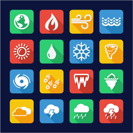 Nature Elements Icons Flat Design