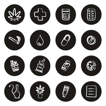 Medical Marijuana Icons Freehand White On Black Circle